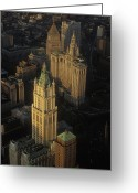 Woolworth Building Greeting Cards - The Woolworth Building, Municipal Greeting Card by Michael S. Yamashita