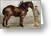 Dark Brown Greeting Cards - The Work Horse Greeting Card by Otto Bache