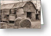 Black And White Barn Greeting Cards - The Working Class Greeting Card by JC Findley