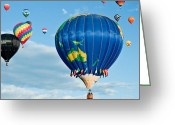 Balloon Fiesta Greeting Cards - The World Aloft Greeting Card by Jim Chamberlain