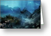 Ship-wreck Greeting Cards - The Wreck Greeting Card by Karen Koski