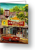 Montreal Restaurants Greeting Cards - The Yangtze Restaurant On Van Horne Avenue Montreal  Greeting Card by Carole Spandau