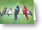 Sparrow Greeting Cards - The Yardbirds Greeting Card by Kerry Trout