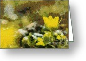 Gold Lame Painting Greeting Cards - The yellow flower Greeting Card by Odon Czintos