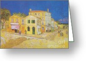 Van Painting Greeting Cards - The Yellow House Greeting Card by Extrospection Art