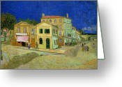 Brushstroke Greeting Cards - The Yellow House Greeting Card by Vincent Van Gogh