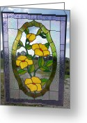 Panel Glass Art Greeting Cards - The Yellow Roses Stained Glass Panel Greeting Card by Arlene  Wright-Correll