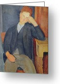 Modigliani Painting Greeting Cards - The young apprentice Greeting Card by Amedeo Modigliani