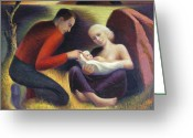 Husband And Wife Greeting Cards - The Young Family  Greeting Card by Glen Heberling