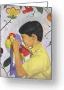 Little Boy Pastels Greeting Cards - The Young Painter Greeting Card by Robert Casilla