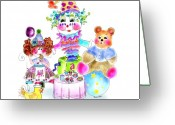 Tea Party Greeting Cards - The Yummy Toy Tea Party Greeting Card by Rosanna Hope