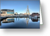 Boston Stadium Greeting Cards - The Zakim Greeting Card by JC Findley