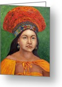Ethnic Painting Greeting Cards - The Zulu Bride Greeting Card by Enzie Shahmiri