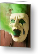 Unhappy Greeting Cards - Theater mask spewing green smoke Greeting Card by Garry Gay