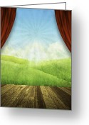 Aged Digital Art Greeting Cards - Theater Stage With Red Curtains And Nature Background  Greeting Card by Setsiri Silapasuwanchai