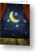 Theater Digital Art Greeting Cards - Theater Stage With Red Curtains And Night Background  Greeting Card by Setsiri Silapasuwanchai