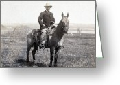 Theodore Greeting Cards - Theodore Roosevelt horseback - c 1903 Greeting Card by International  Images