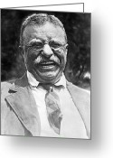Presidential Portrait Greeting Cards - Theodore Roosevelt laughing Greeting Card by International  Images