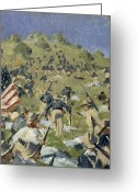 Republican Painting Greeting Cards - Theodore Roosevelt taking the Saint Juan Heights Greeting Card by Vasili Vasilievich Vereshchagin