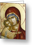Byzantine Icon Greeting Cards - Theotokos Greeting Card by Julia Bridget Hayes