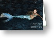 Fantasy Creature Greeting Cards - There Is A Mermaid In The Pool Greeting Card by Nina Prommer
