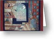Black And White Tapestries - Textiles Greeting Cards - There IS a place... Greeting Card by Gun Legler