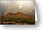 The Supes Greeting Cards - Theres Gold at the End of the Rainbow Greeting Card by Saija  Lehtonen