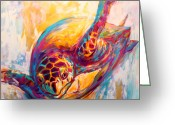 Home Wall Art Greeting Cards - Theres More than Just fish in the Sea - Sea Turtle Art Greeting Card by Mike Savlen