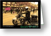 Occupy Oakland Greeting Cards - Theres Something Happening Here . Occupy SF 2011 Greeting Card by Wingsdomain Art and Photography