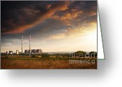 Vapor Greeting Cards - Thermoelectrical Plant Greeting Card by Carlos Caetano