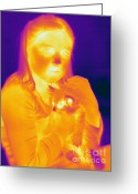 Human Being Photo Greeting Cards - Thermogram Of A Girl And Cat Greeting Card by Ted Kinsman