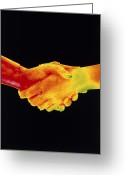 Handshake Greeting Cards - Thermogram Of A Handshake Greeting Card by Dr. Arthur Tucker
