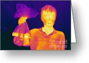 Human Being Photo Greeting Cards - Thermogram Of A Hidden Gun Greeting Card by Ted Kinsman