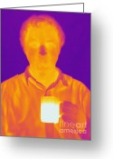 Human Being Photo Greeting Cards - Thermogram Of A Man Greeting Card by Ted Kinsman