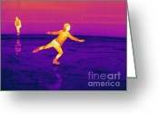Human Being Photo Greeting Cards - Thermogram Of A Skater Greeting Card by Ted Kinsman