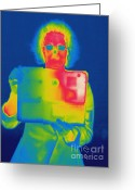 Human Being Photo Greeting Cards - Thermogram Of A Woman With A Laptop Greeting Card by Ted Kinsman