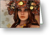 3d Graphic Greeting Cards - They Call Her Autumn Greeting Card by Jutta Maria Pusl
