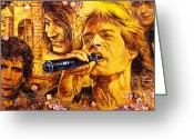 Rolling Stones Painting Greeting Cards - They Rock Greeting Card by Igor Postash