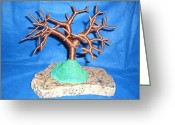 Granite Sculpture Greeting Cards - Thick 24 Gauge Copper Wire Tree on Brown and Black Marble or Granite Slab Greeting Card by Serendipity Pastiche