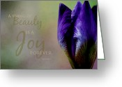 Iris Art Mixed Media Greeting Cards - Thing of Beauty Greeting Card by Bonnie Bruno