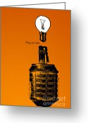 Light Bulb Mixed Media Greeting Cards - Think Out War Greeting Card by Tony  Koehl