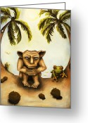 Gargoyle Greeting Cards - Thinking About Coconuts Greeting Card by Leah Saulnier The Painting Maniac