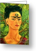 Artist Canvas Painting Greeting Cards - Thinking About Death by Frida Kahlo Greeting Card by Pg Reproductions