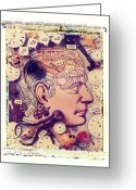 Brain Greeting Cards - Thinking Greeting Card by Garry Gay