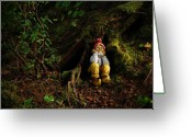 Gnome Greeting Cards - Thinking Gnome Greeting Card by Harry Spitz