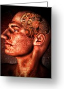 Gears Greeting Cards - Thinking Man Greeting Card by Bob Orsillo
