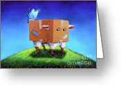 Business Painting Greeting Cards - Thinking Outside The Box Greeting Card by Conni Togel