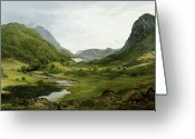 Mountainous Greeting Cards - Thirlmere Greeting Card by John Glover