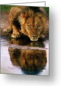 Animal Art Giclee Mixed Media Greeting Cards - Thirst For Life Greeting Card by Carol Cavalaris
