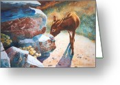 Burro Greeting Cards - Thirsty One Greeting Card by Marguerite Chadwick-Juner